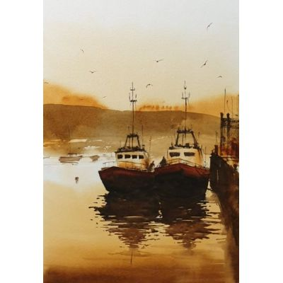 Boats Howth harbour – Watercolour