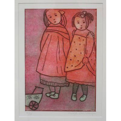 Children with Pram, original etching, ready to hang