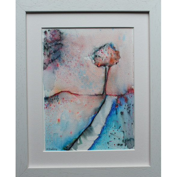 Colour Study With Trees 1 - original pen and watercolour painting (framed)