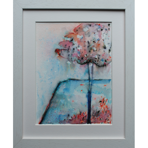 Colour Study With Tree 2 - original pen and watercolour on paper (framed)