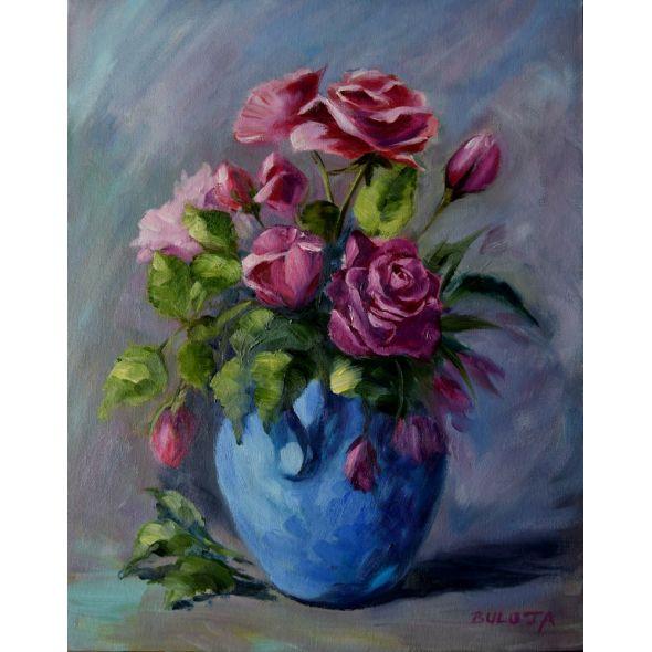 In a blue vase