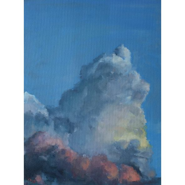 Original Oil, Irish sky, clouds at sunset after realism, impressionism